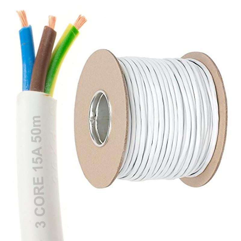 100 m blanc 1.5 mm² 3183Y 3 Core Flexible Rond Fil De Câble
