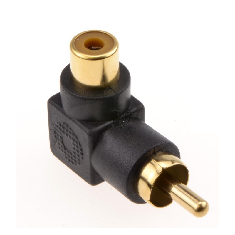 Right Angled RCA Phono Adapter Black Audio Plug to Socket Gold Plated