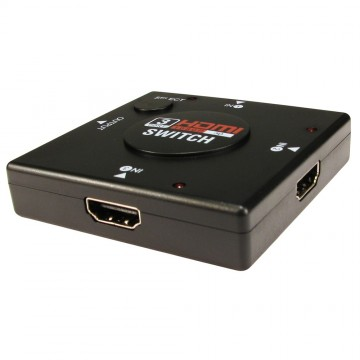 HDMI 3D Mini Switcher 3 Devices to 1 TV Switch Box 3 Way Selector
