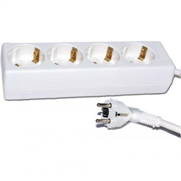 4 Way Gang European 16 Amp Mains Extension Schuko Sockets 3m...