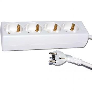 4 Way Gang European 16 Amp Mains Extension Schuko Sockets 3m...