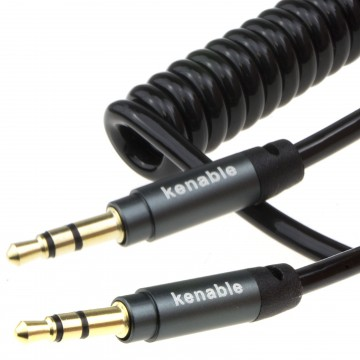 PRO 22AWG COILED 3.5mm Stereo Jack Cable AUX Headphone Lead 1m...