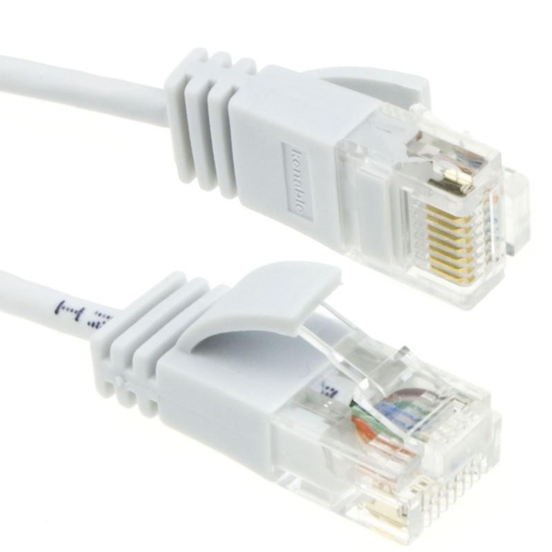 SLIM Cat 6 Full Copper RJ45 Ethernet Network Internet Cable  0.5m White