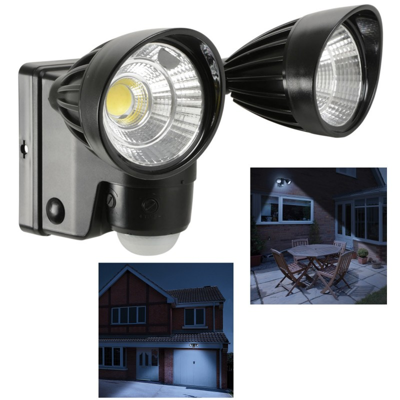 Motion Sensor Battery Powered Twin LED Security Flood Light with PIR