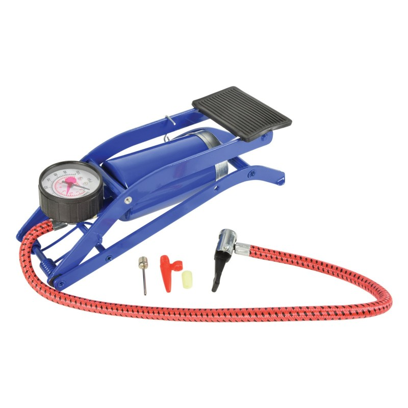 Foot Pump Single Barrel with Guage for Airbeds/Bikes/Tyres/Footballs 100 PSI