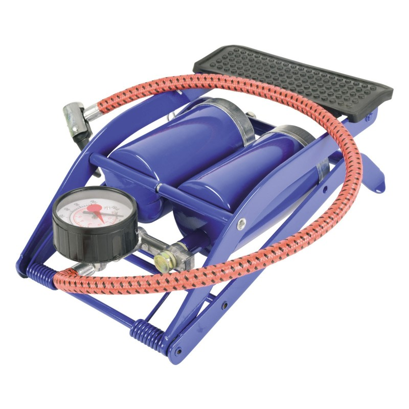 Foot Pump Double Barrel with Guage for Airbeds/Bikes/Tyres/Footballs 100 PSI