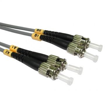 OM1 Grey Fibre Optic ST ST Duplex MM 62.5 125 Patch LSZH Cable 3m