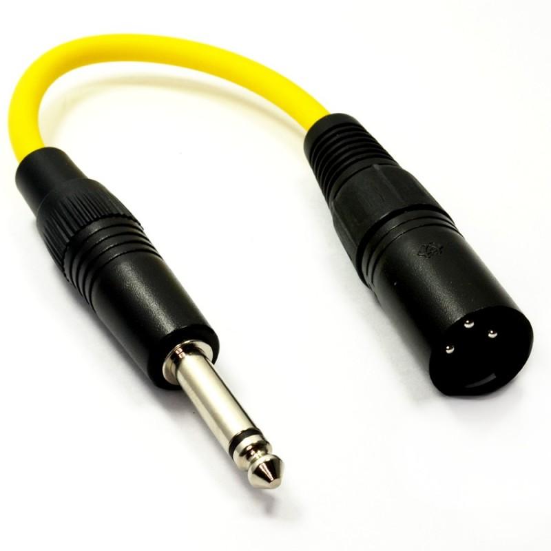 Pulse XLR Plug to 6.35mm Jack Plug Lead Yellow MONO 10cm