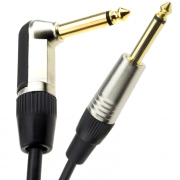 GOLD Right Angle MONO Jack 6.35mm Guitar/Amp LOW NOISE Cable...