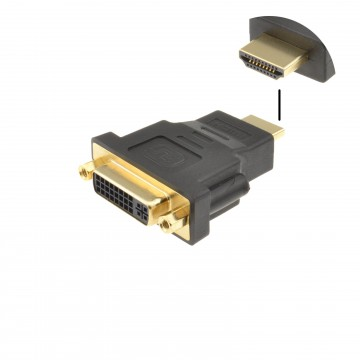 DVI-D 24+5 Socket to HDMI Plug Digital Adapter Converter GOLD