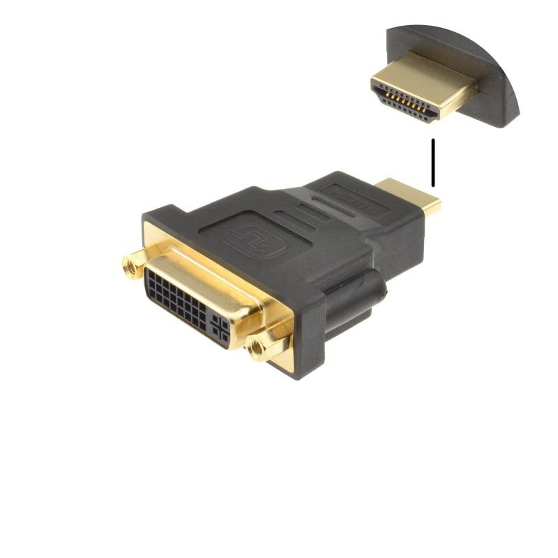 DVI-D 24+5 Socket to HDMI Plug Digital Adapter Converter GOLD