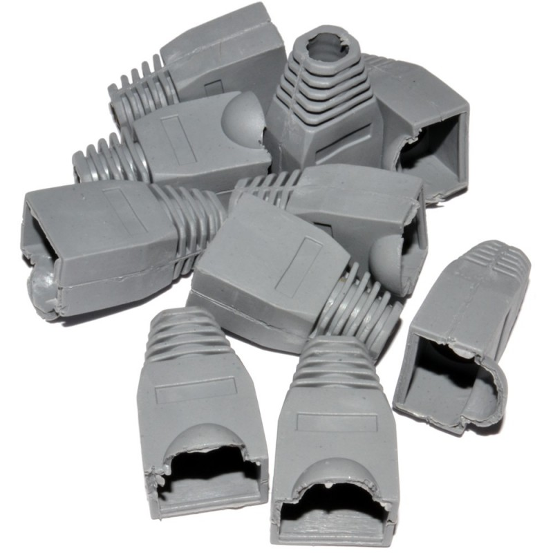 RJ45 Boots For Networking Cables with 6mm Entry - Grey [10 Pack]