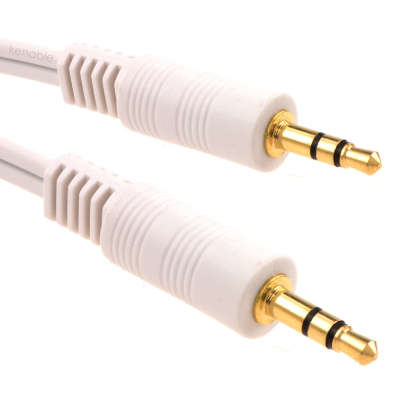 3.5mm Stereo Jack Plug to 3.5mm Stereo Jack Plug Cable White 3m