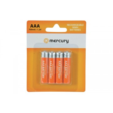 Mercury AAA Rechargeable NiMH 700mA 1.2V Batteries 4 Pack