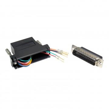 RJ45 Socket to 25 Way DB25 Modular Male Pins Adapter