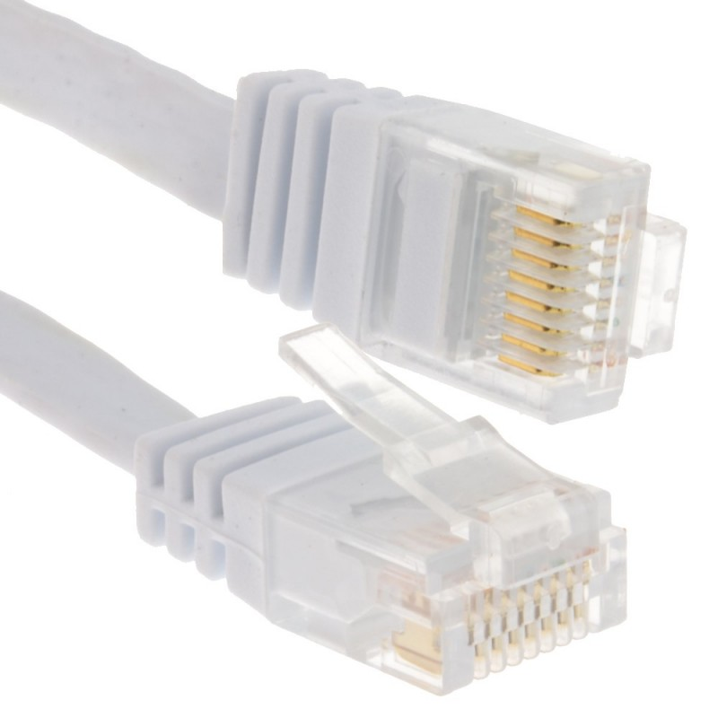 FLAT CAT6 Ethernet LAN Patch Cable Low Profile GIGABIT RJ45  1m WHITE