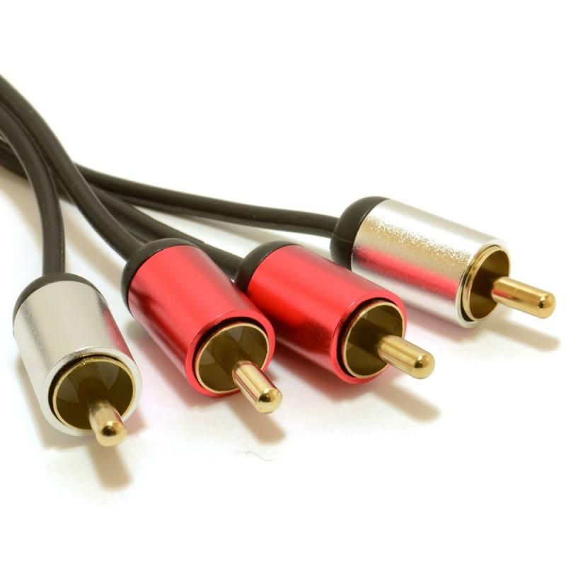 Aluminium PRO 2 x RCA Twin Phono Plugs Stereo Audio Cable Gold Lead 1.5m