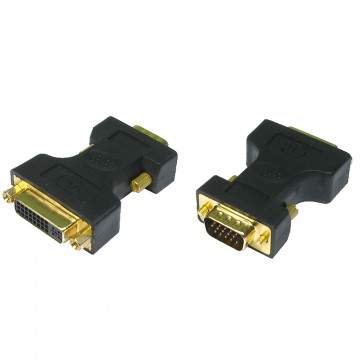 SVGA 15 Pin Male to DVI-A Female Socket Adapter GOLD