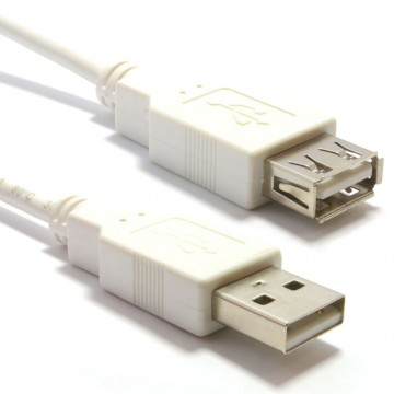 USB 2.0 High Speed Cable EXTENSION Lead A Plug to Socket WHITE 2m