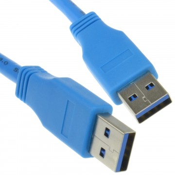 USB 3.0 SuperSpeed Type A Plug to A Plug Cable Lead Blue 1m