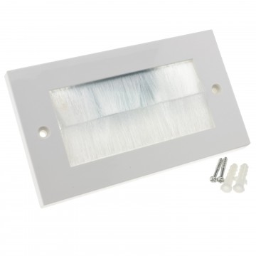 WHITE BRUSH Faceplate for Cable Exit/Wall Outlet UK Double...