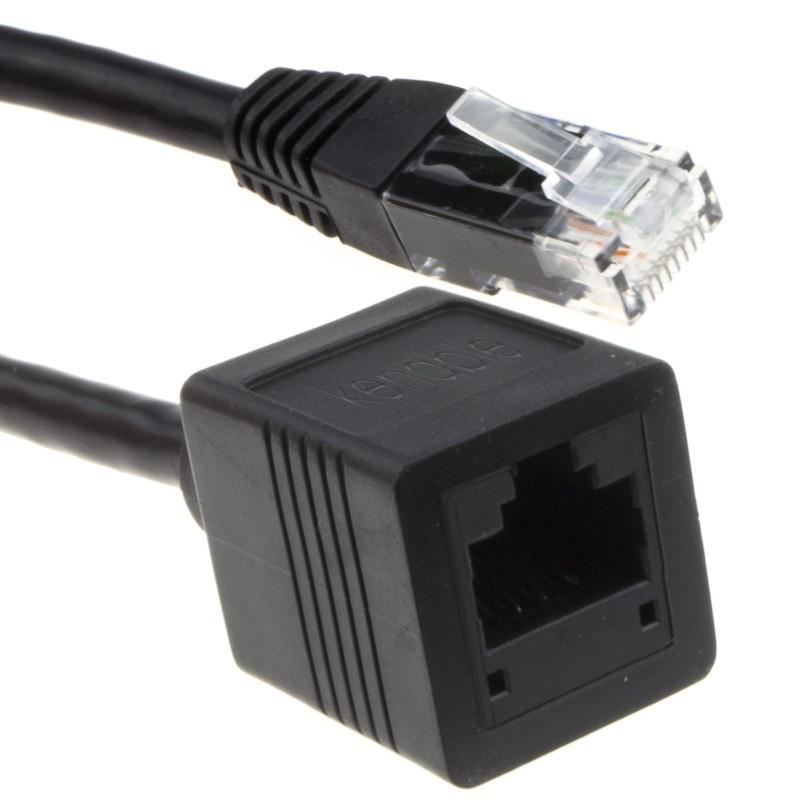 Network CAT6 UTP Ethernet RJ45 Extension Male/Female Cable Black 10m