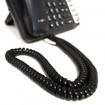 Telephone Handset Coiled RJ10 Plug to RJ10 Plug Cable Lead Black 4m