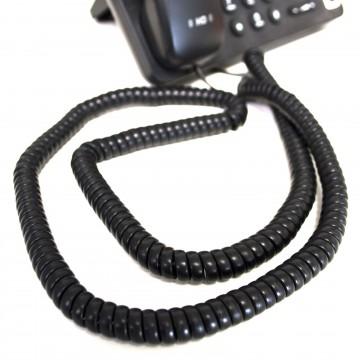 Telephone Handset Coiled RJ10 Plug to RJ10 Plug Cable Lead Black 6m