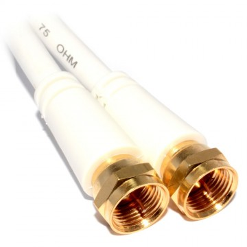 F Type Screw on Male to Male Satellite Freeview Cable 1m GOLD
