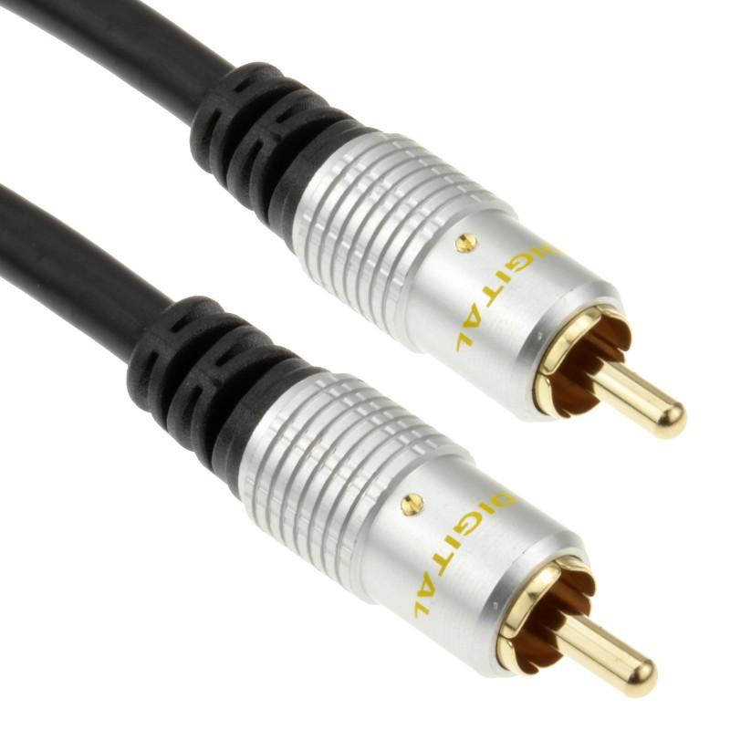Pure OFC Digital Audio or Composite Cable Phono Plug to Plug Gold  3m