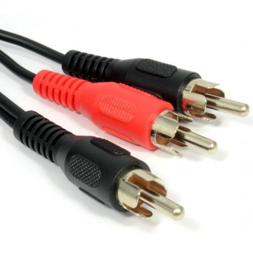 RCA Phono Plug to Twin Phono Plugs Splitter/Combiner Cable 0.5m 50cm