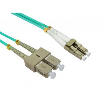 OM4 Aqua Fibre Optic LC SC Duplex MM 50 125 Patch LSZH Cable  0.5m