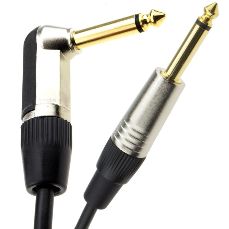 GOLD Right Angle MONO Jack 6.35mm Guitar/Amp LOW NOISE Cable Lead  1m