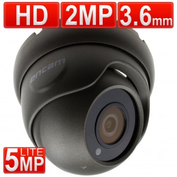 encam CCTV AHD 2MP/1080P/5MP Lite 3.6mm Security Dome Camera Grey