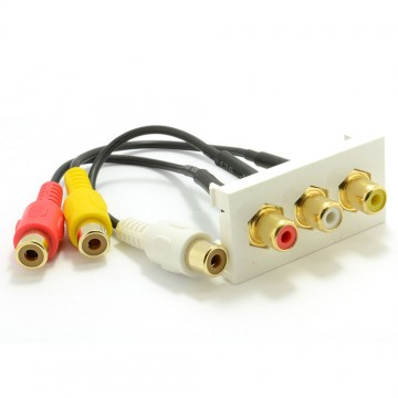 Ready Made Faceplate Module 3x RCA Phono Video Audio Panel...