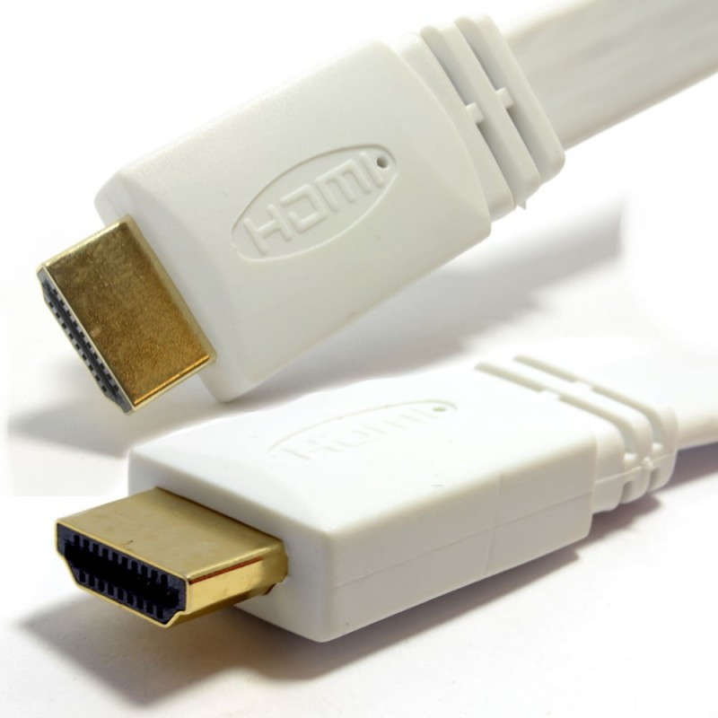 FLAT HDMI High Speed Cable for LCD LED UHD/HD TV Lead Gold 10m WHITE