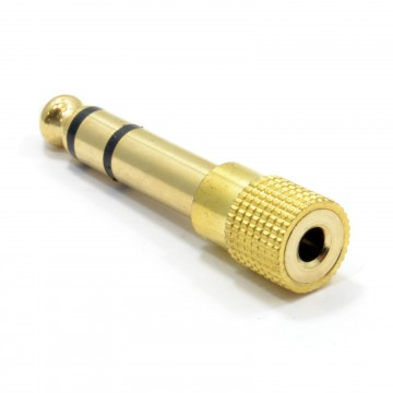 3.5mm Stereo Jack Socket to 6.35mm Stereo Male Plug Adapter Gold