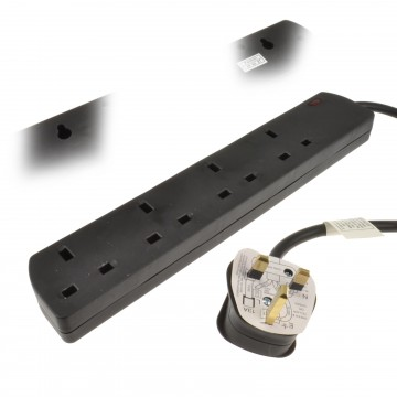 4 Gang SLIMLINE Wall Mountable UK Mains Extension Power Strip 2m Black