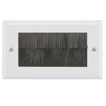 Cable Entry/Exit BRUSH Faceplate for Wall Outlet UK Double...