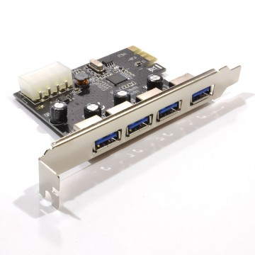 USB 3.0 SuperSpeed 4 Port PCI Express Card with 4 Pin Molex