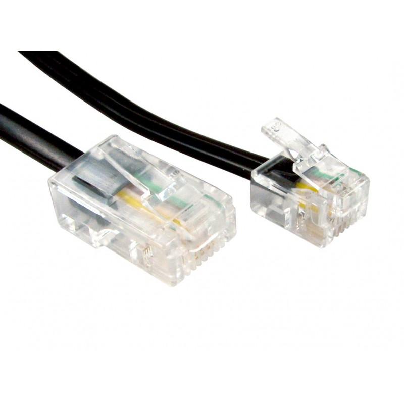 RJ11 Male Plug to 4 wire RJ45 Male Plug Flat Cable Lead  5m BLACK