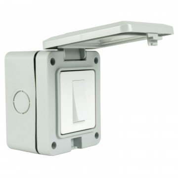 Single 1 Gang Fully Weatherproof 2 Way Outdoor Power Switch IP55 White