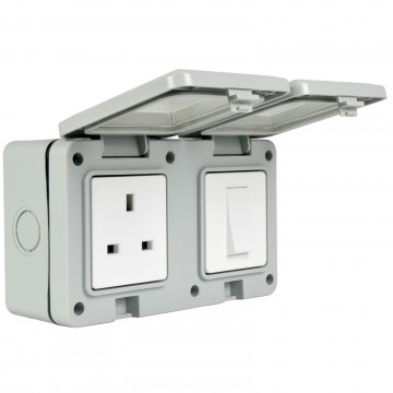 Double Gang Fully Weatherproof Switch & 3 Pin UK Power Socket Outdoor IP55 White