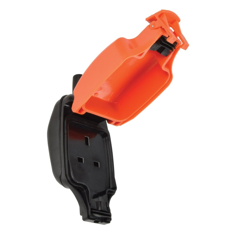 Single 1 Gang Fully Water Weatherproof 3 Pin UK Power Socket Outdoor Outlet IP54