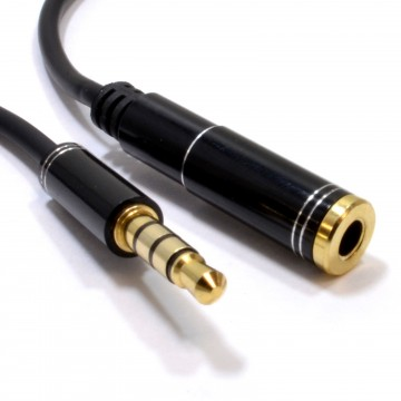 PRO 4 Pole TRRS METAL 3.5mm Jack Headphone/Headset Extension Cable 0.5m