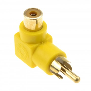 Right Angled RCA Phono Adapter Yellow Video Plug to Socket Gold Plated