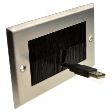 STEEL Cable Entry/Exit BRUSH Faceplate for Wall Outlet UK Double Gang