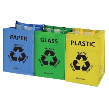 Reusable Colour Coded Recycling Bags Set of 3 40 Litres per Bag