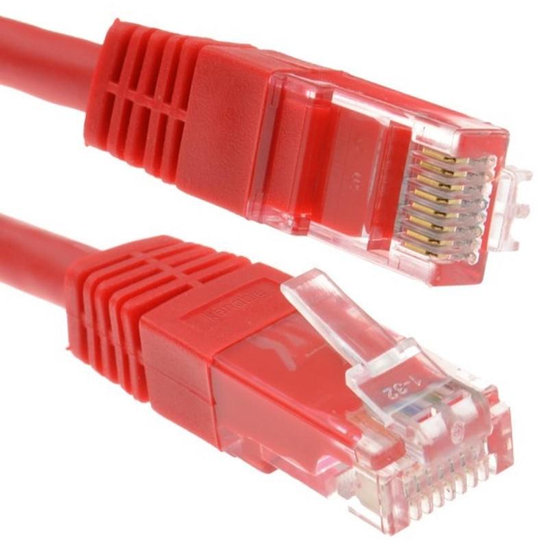 Red Network Ethernet RJ45 Cat-5E UTP PATCH LAN COPPER Cable   0.25m 25cm
