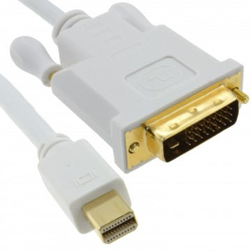Mini DisplayPort Thunderbolt to DVI-D Male Plug White Cable 1m